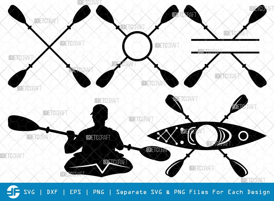 Kayak Monogram SVG Cut Files | Kayak Silhouette