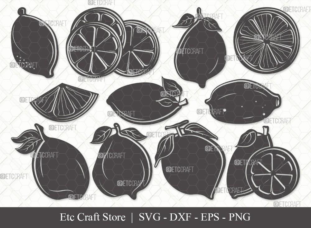 Lemon Silhouette SVG Cut File | Half Lemon Svg