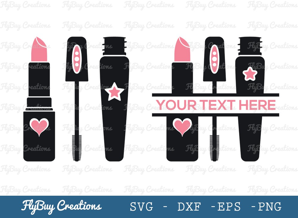 Lipstick and Mascara SVG Cut File | Makeup Kids
