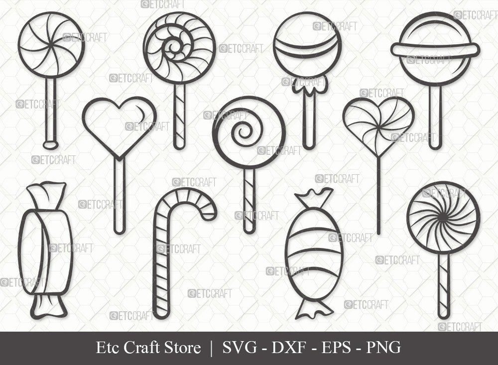 Lollipop Outline SVG Cut File | Sweets Candy Svg
