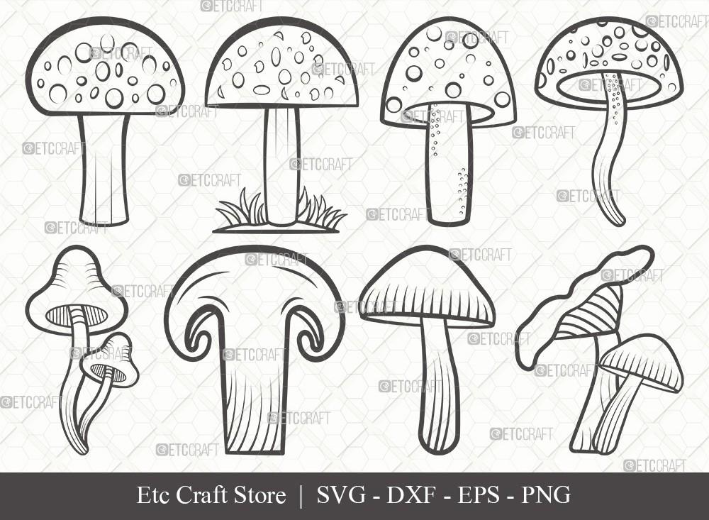 Mushroom Outline SVG Cut File | Fungus Svg