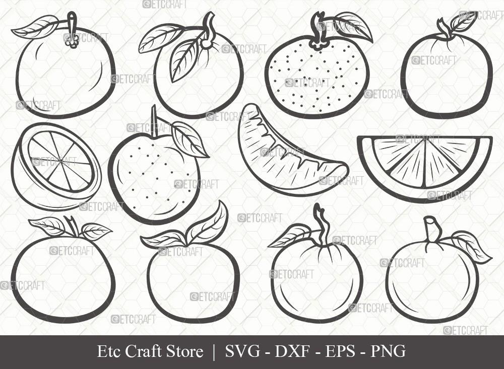 Orange Outline SVG Cut File | Half-Orange Svg
