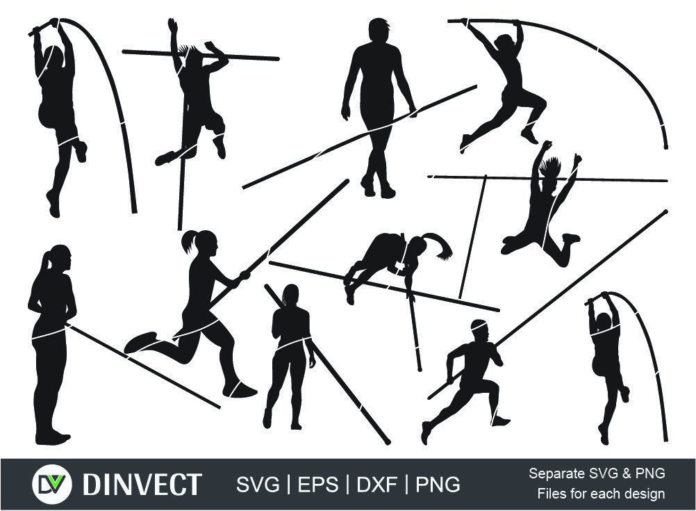 Pole vault Silhouette Digital Downloads!