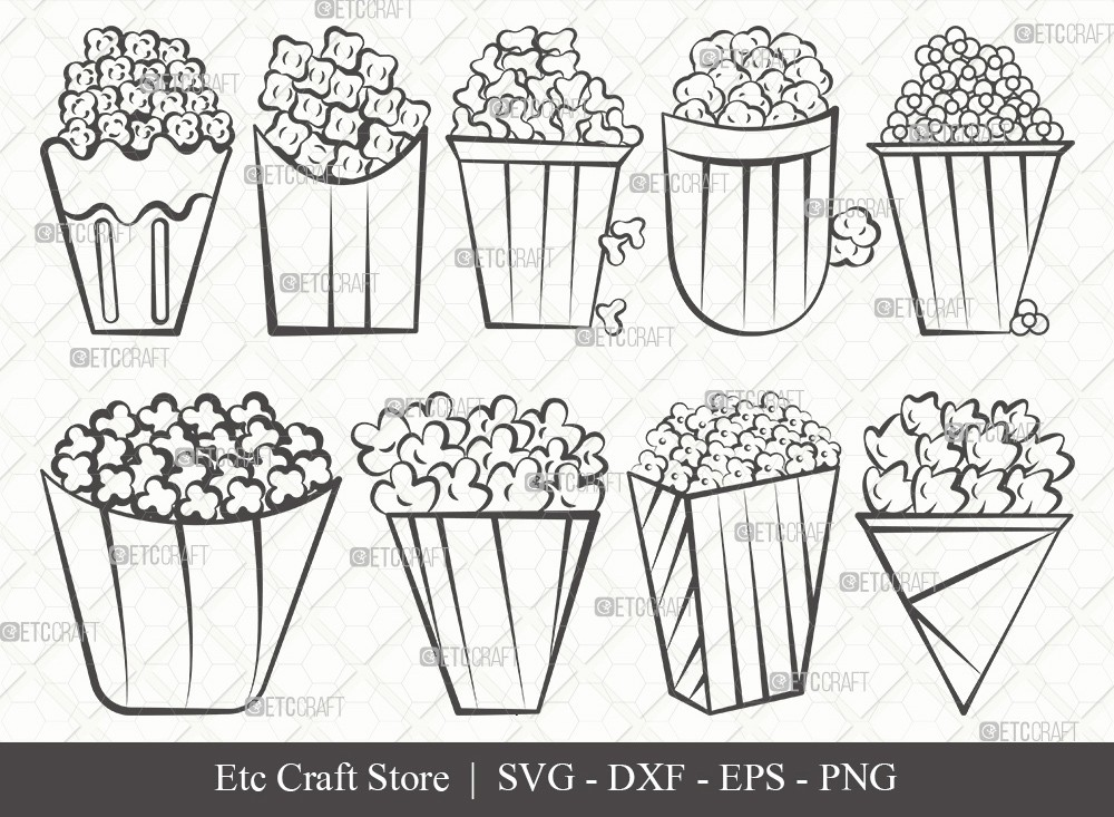 Popcorn Outline SVG Cut File | Popcorn Svg