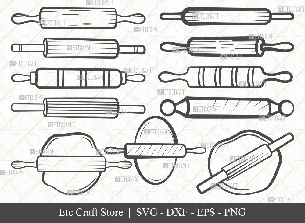 Rolling Pin Outline SVG Cut File | Kitchen Svg
