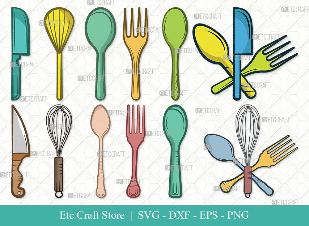 Spoon Clipart SVG Cut File | Fork Svg