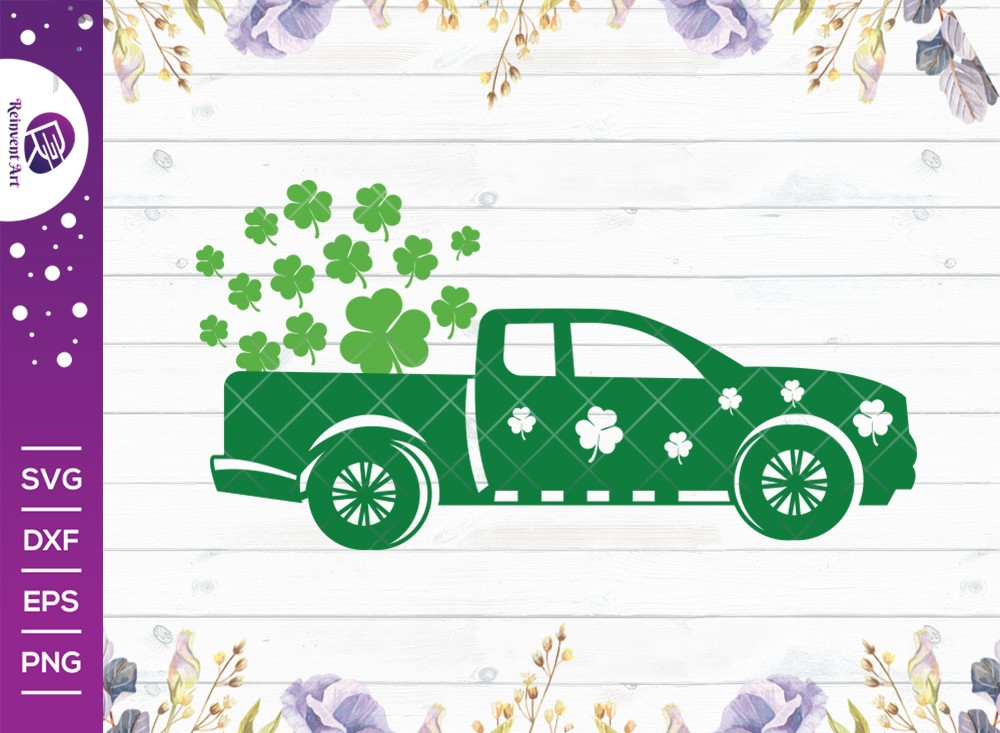 St Patricks Truck SVG Cut File | Shamrock SVG