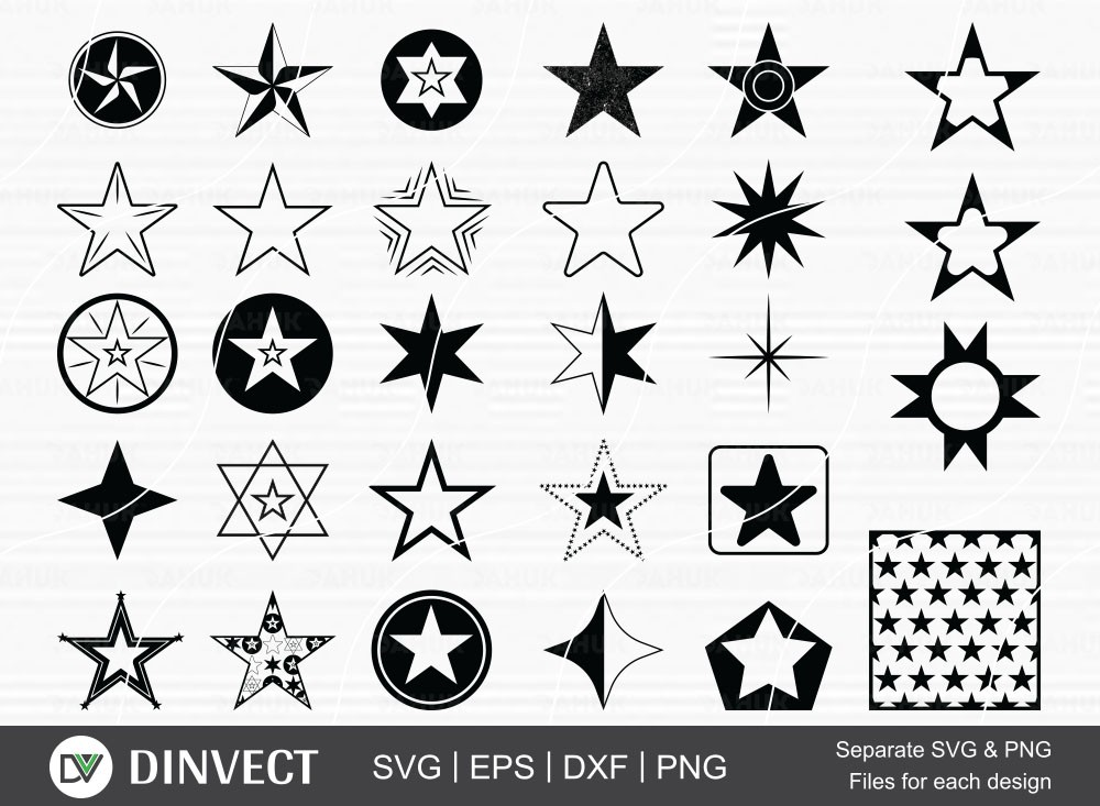 Star bundle SVG, Star silhouette, pentagram clipart