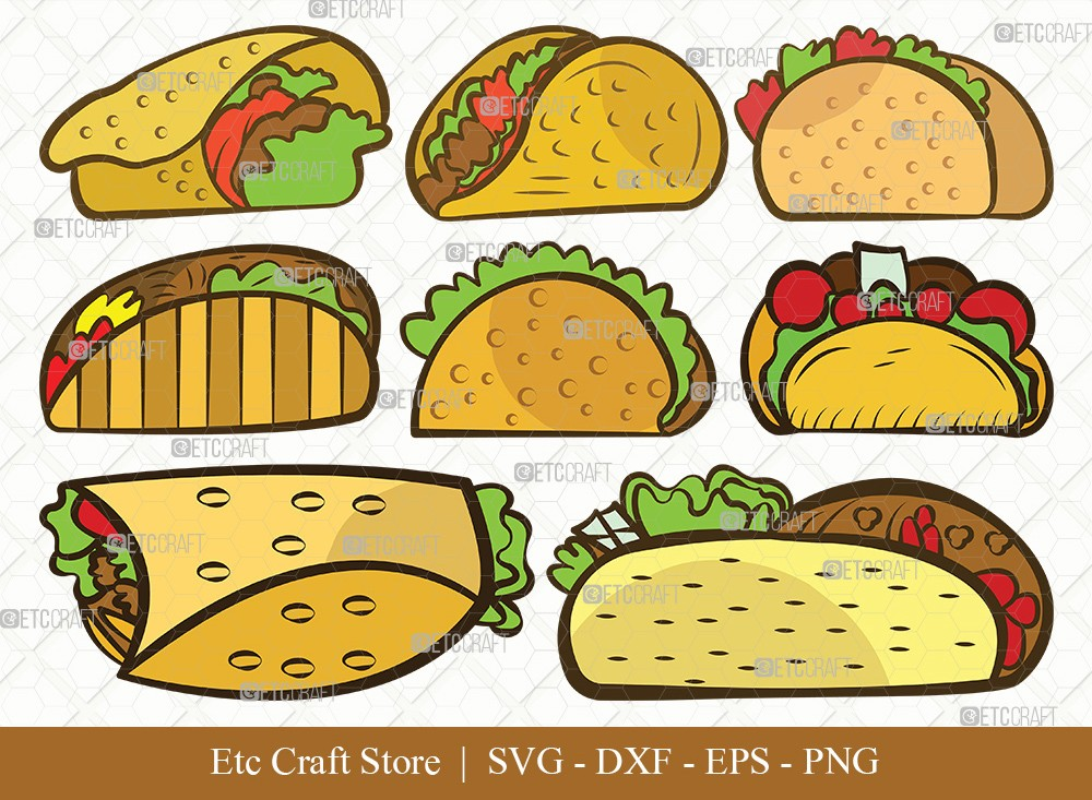 Taco Clipart SVG Cut File | Mexican Food Svg