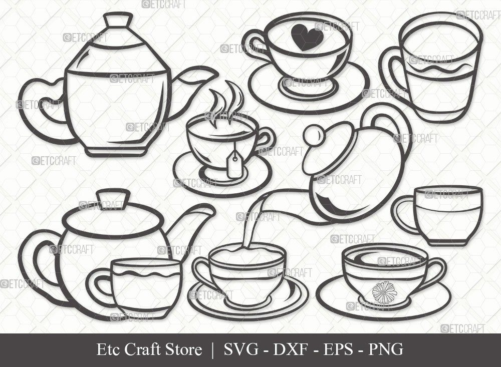Tea Set Outline SVG Cut File | Tea Cup Svg