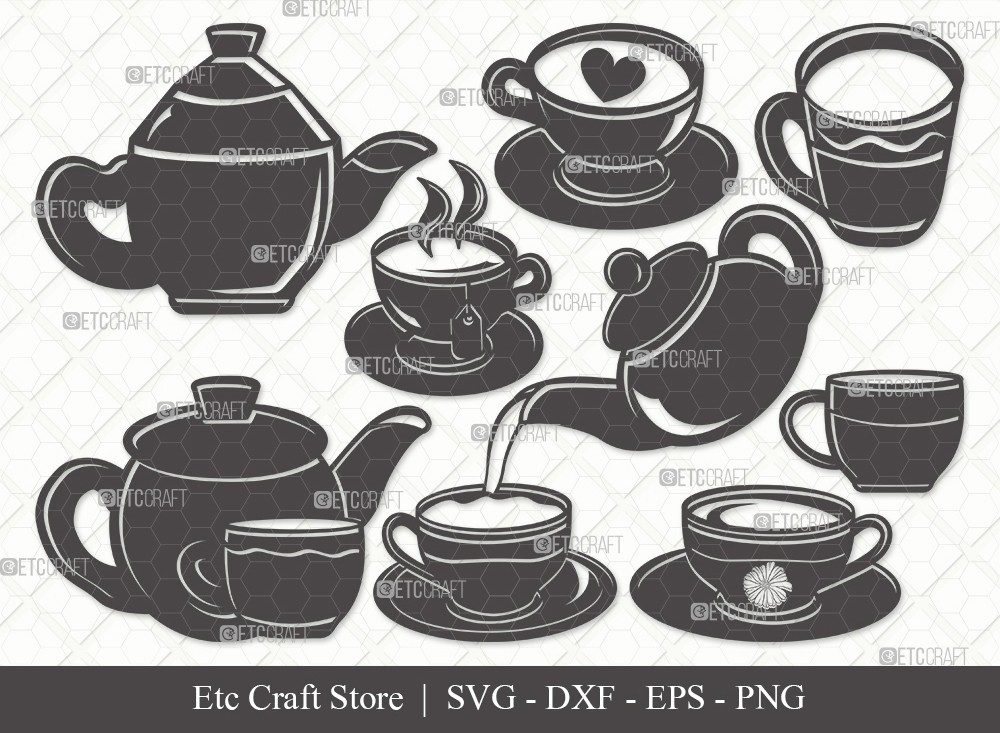 Tea Set Silhouette SVG Cut File | Tea Cup Svg