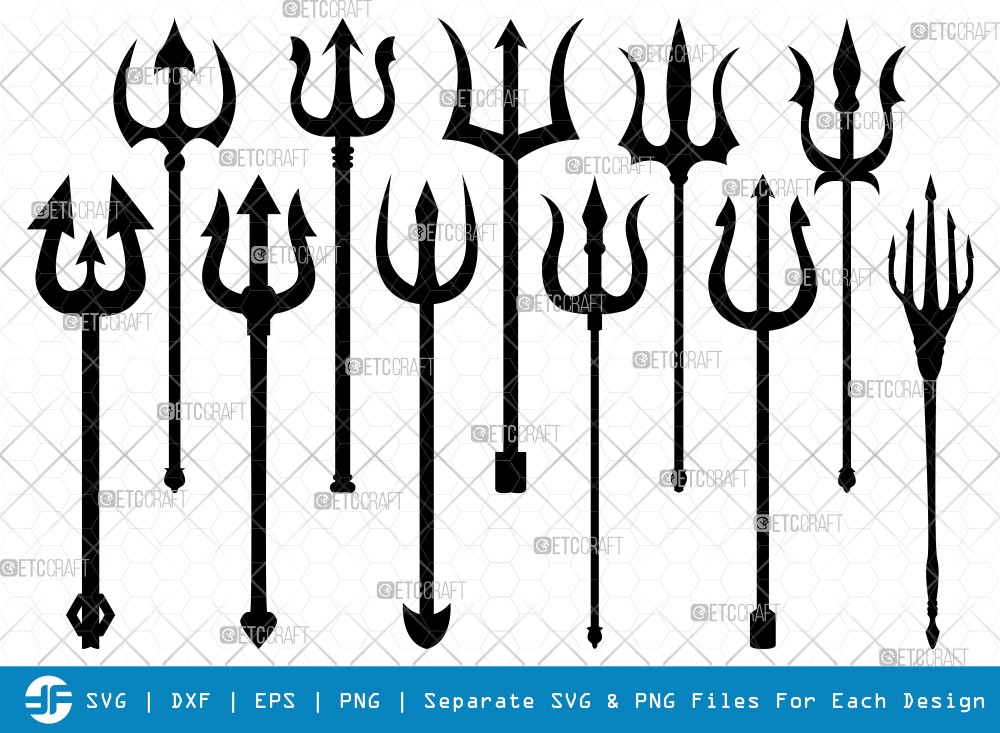 Trident SVG Cut Files | Pitchfork Silhouette