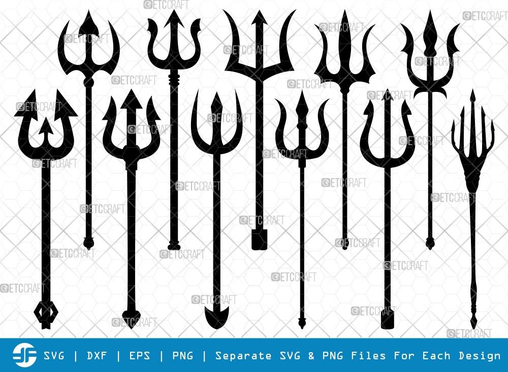 Trident SVG Cut Files | Pitchfork Silhouette