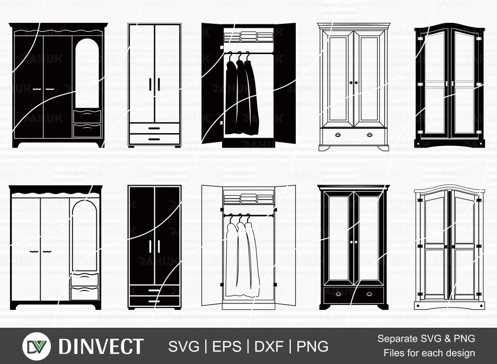 Wardrobe SVG, Armoire Silhouette, Furniture SVG, Wardrobe Vector
