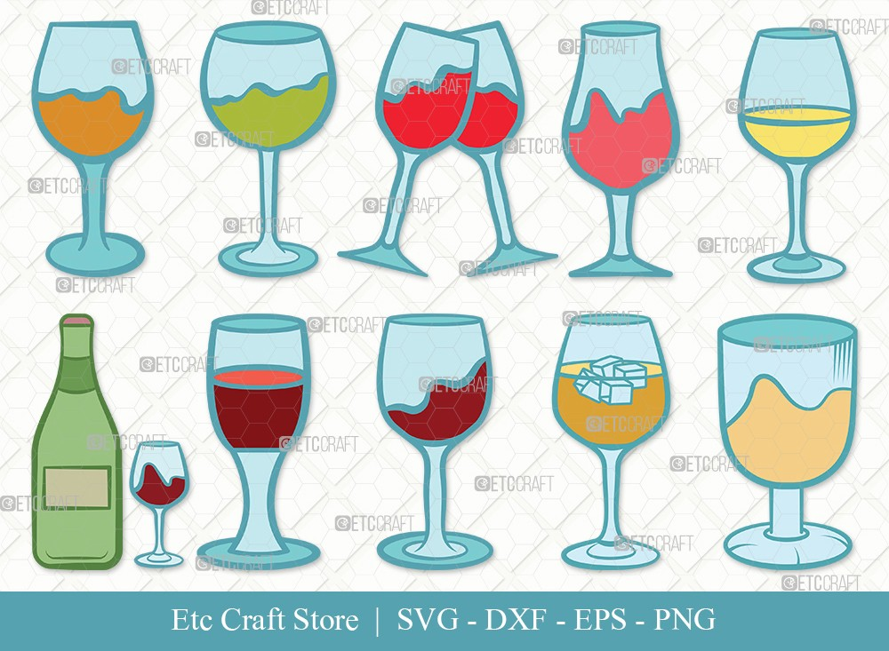 Wine Glass Clipart SVG Cut File | Drinking Glass