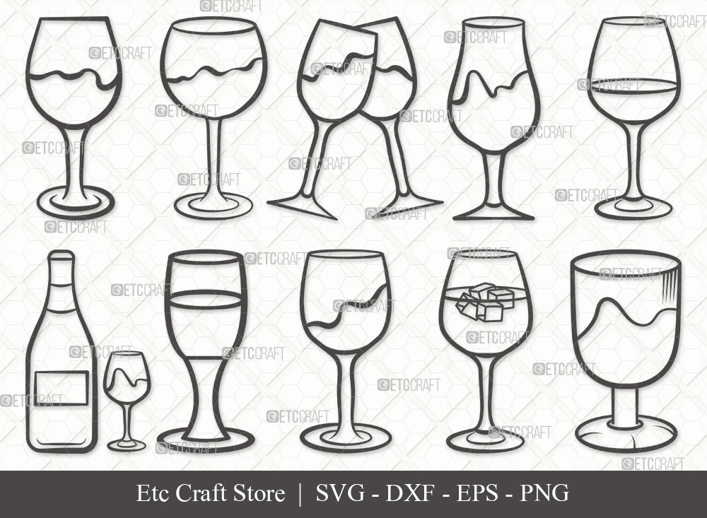 Wine Glass Outline SVG Cut File | Drinking Glass
