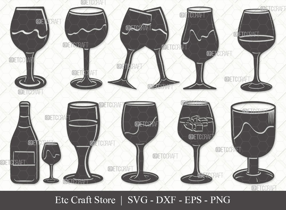 Wine Glass Silhouette SVG Cut File