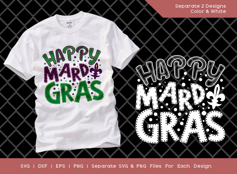 Happy Mardi Gras SVG Cut File | Fat Tuesday Svg
