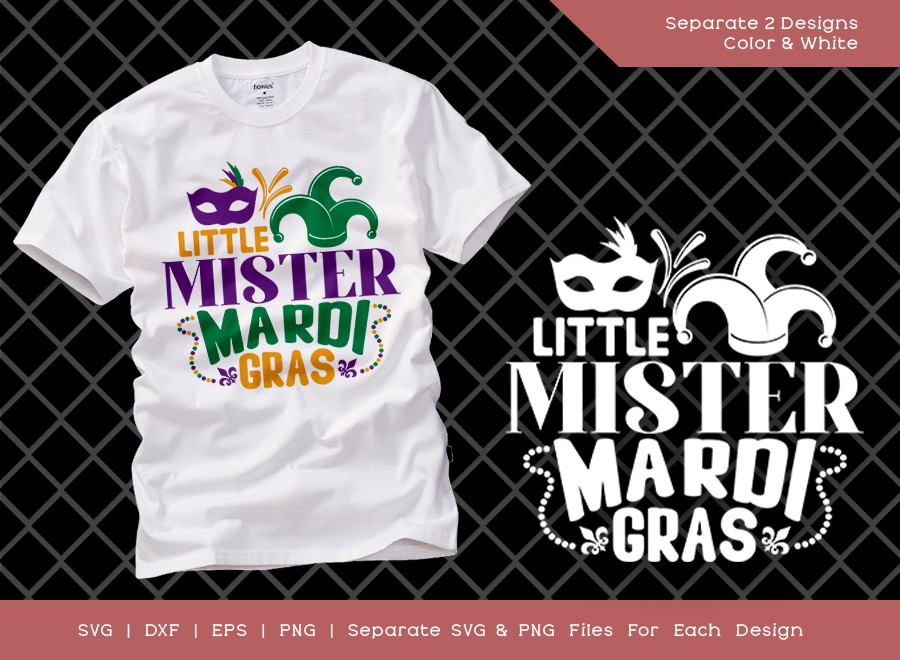 Little Mister Mardi Gras SVG Cut File
