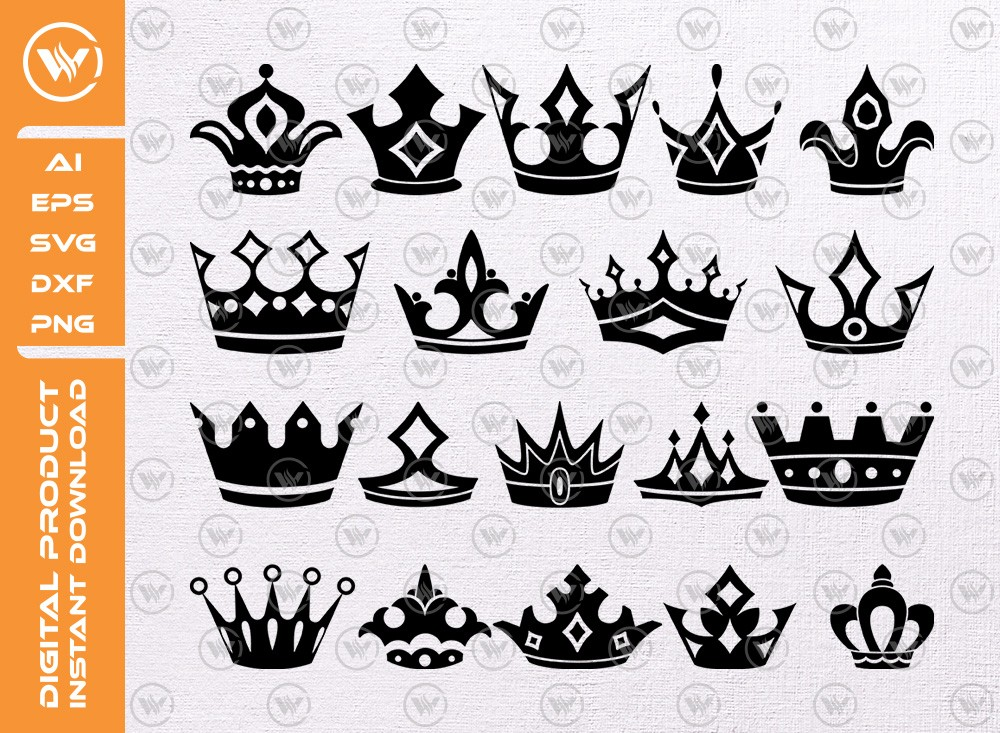 Crown SVG | Crown Silhouette SVG | Crown Icon Cut File