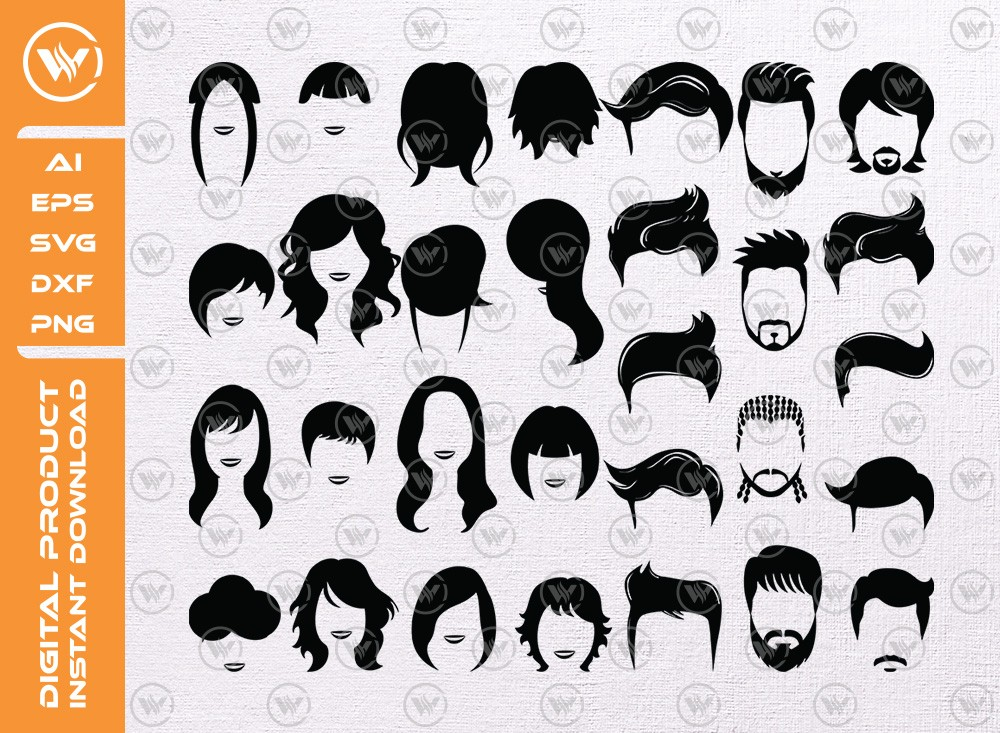 Hair Styl SVG | Hair Styl Silhouette | Human Hair