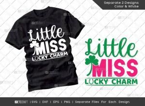 Little Miss Lucky Charm SVG Cut File | St Patricks Day Svg | T-shirt Design