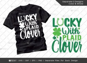 Lucky With Plaid Clover SVG | St Patricks Day