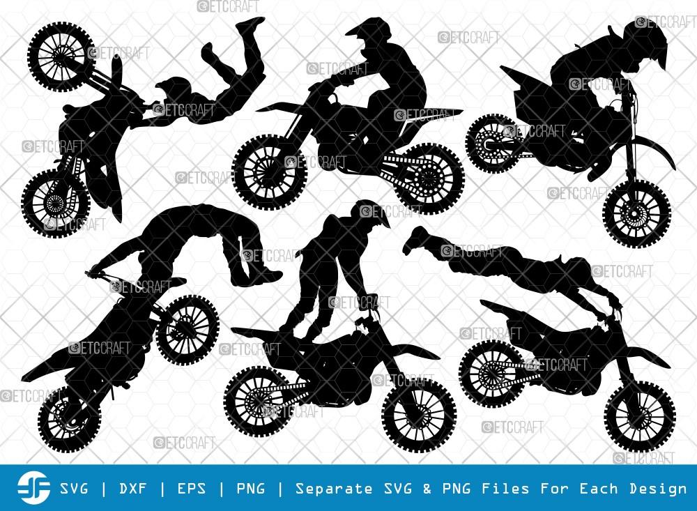 Dirt Bike SVG Cut Files | Sport Bike Silhouette