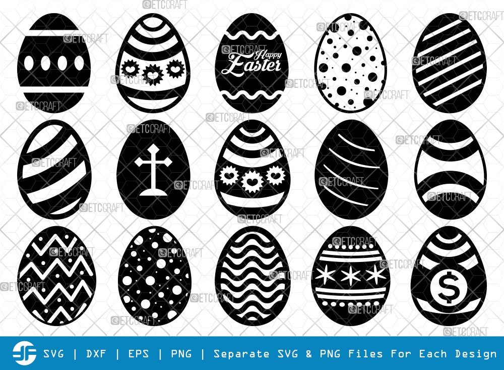Easter Egg SVG Cut Files | Easter Silhouette