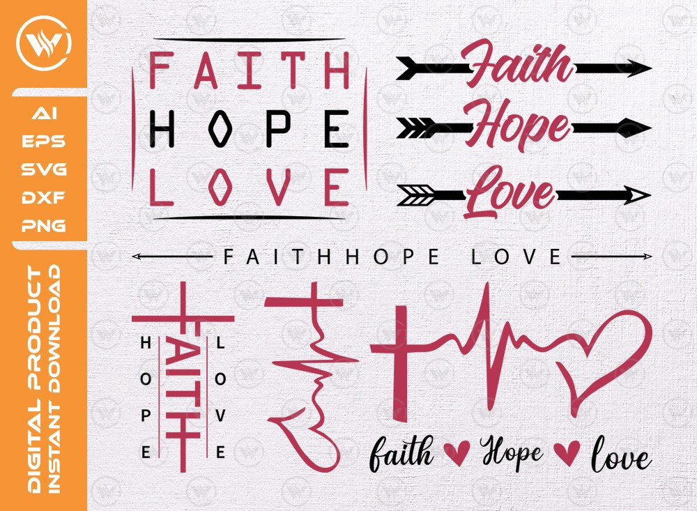 Faith Hope Love Svg | Religious Svg | Christian Svg