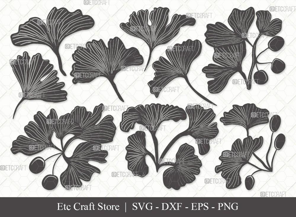 Ginkgo Leaves Silhouette SVG | Ginkgo Leaf Svg