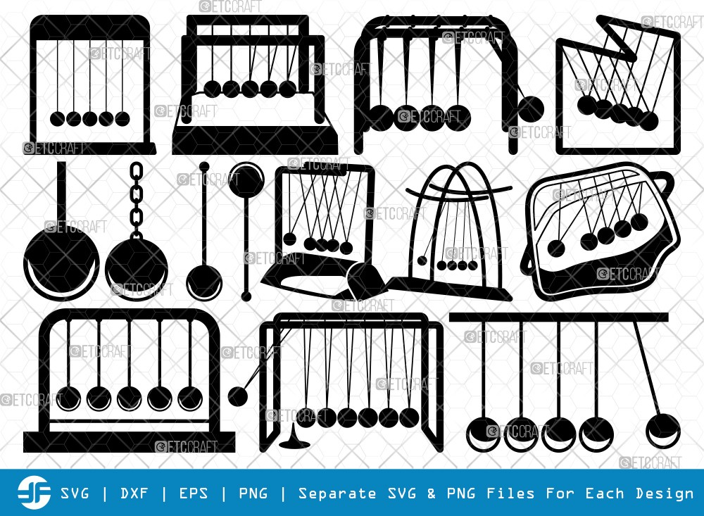 Newton Cradle SVG Cut Files | Cradle Silhouette
