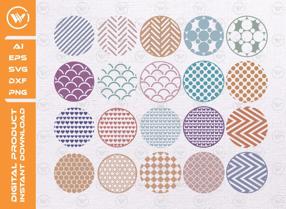 Keyring patterns SVG | Round Pattern Silhouette