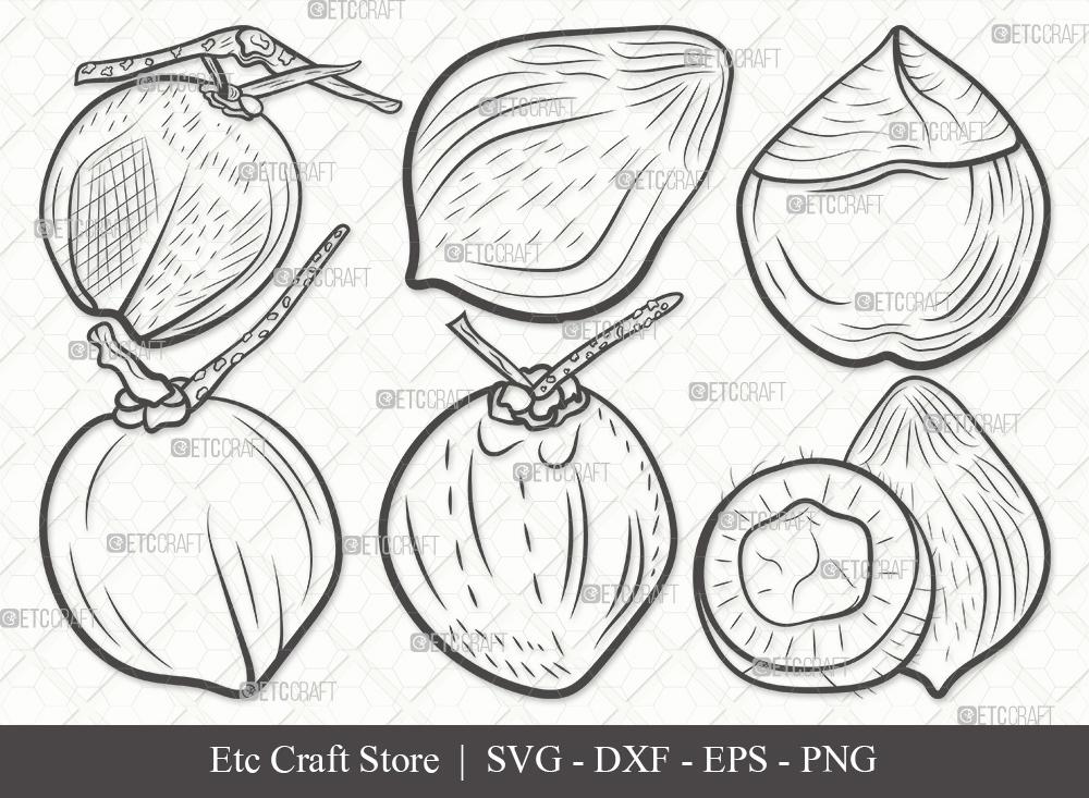 Coconut Outline SVG Cut File   Fruit Svg