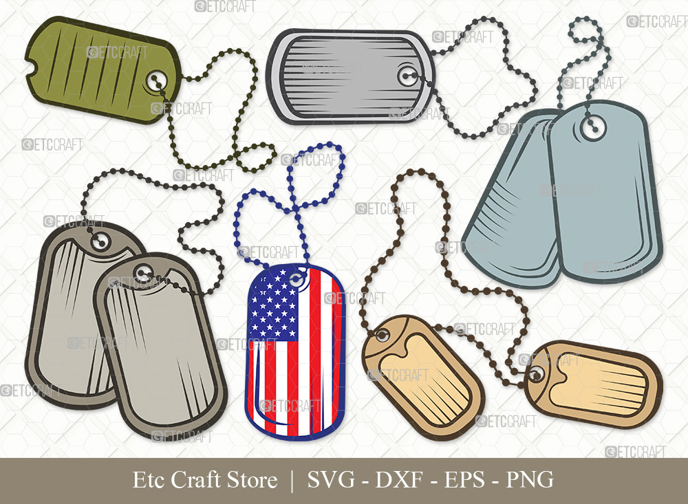 Dog Tags Army Clipart SVG | Dog Tags Svg