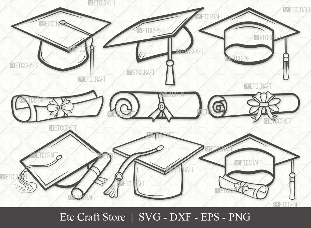 Graduation Cap Outline SVG | Graduation Svg