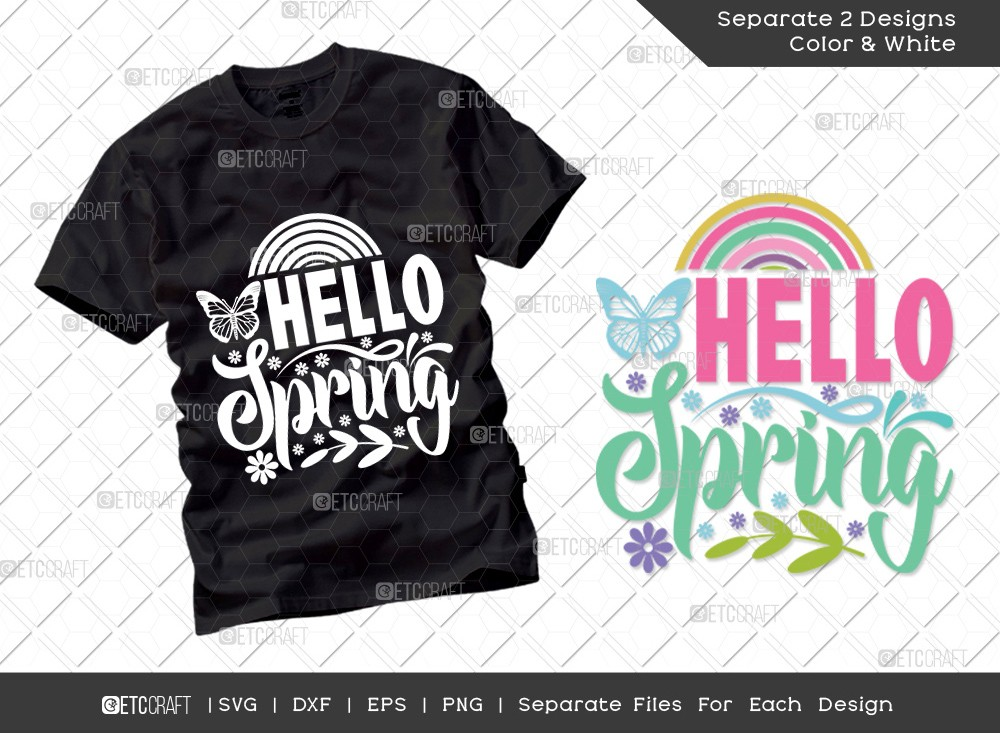 Hello Spring SVG Cut File | Rainbow Svg