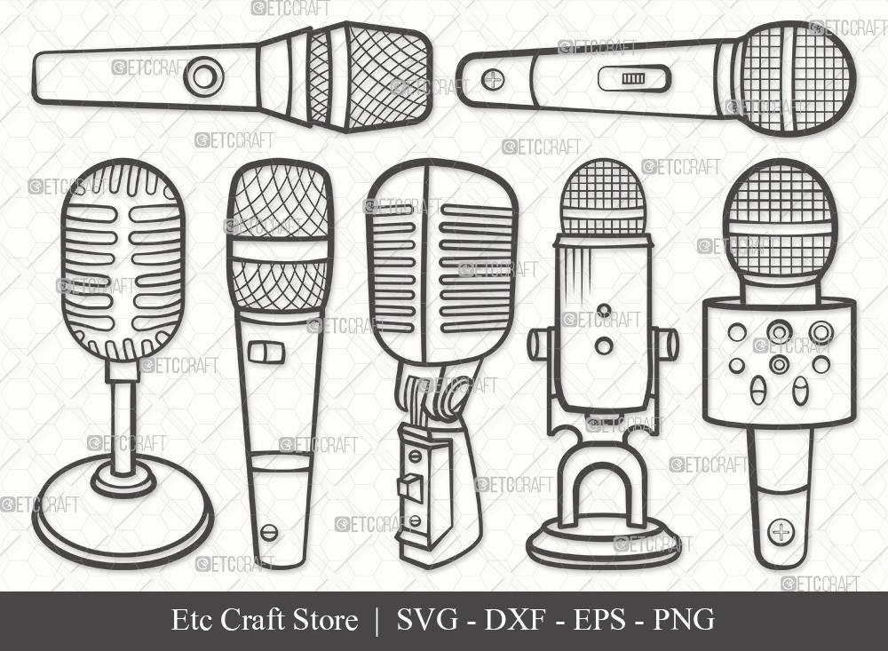 Microphone Outline SVG | Sound Recording Svg