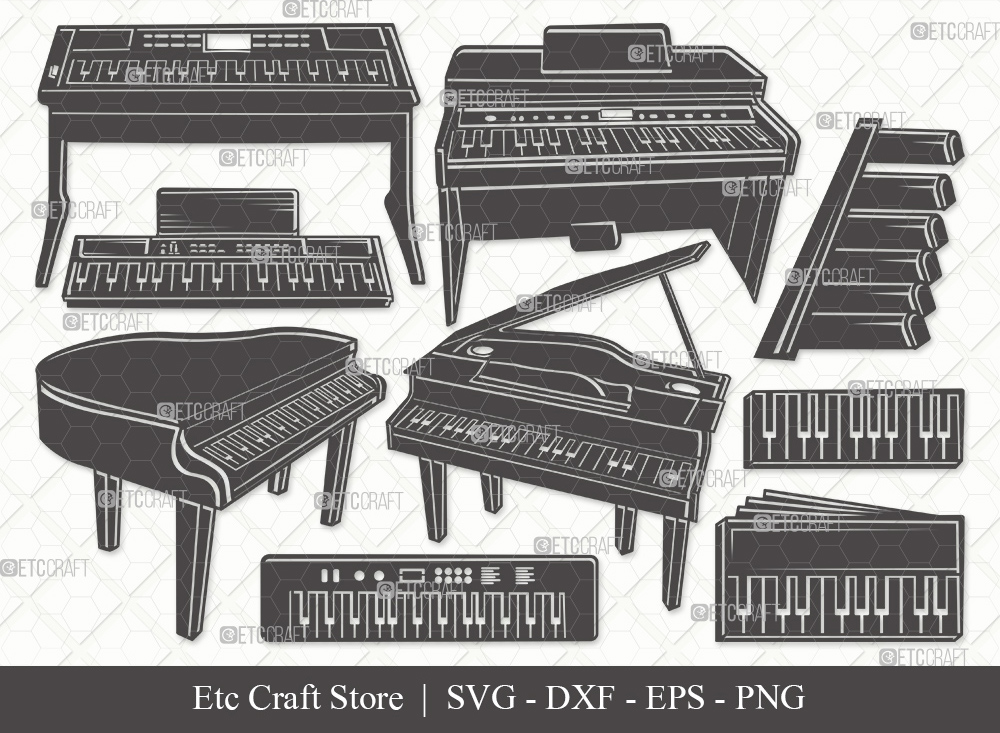 Piano Silhouette SVG Cut File | Synth Svg