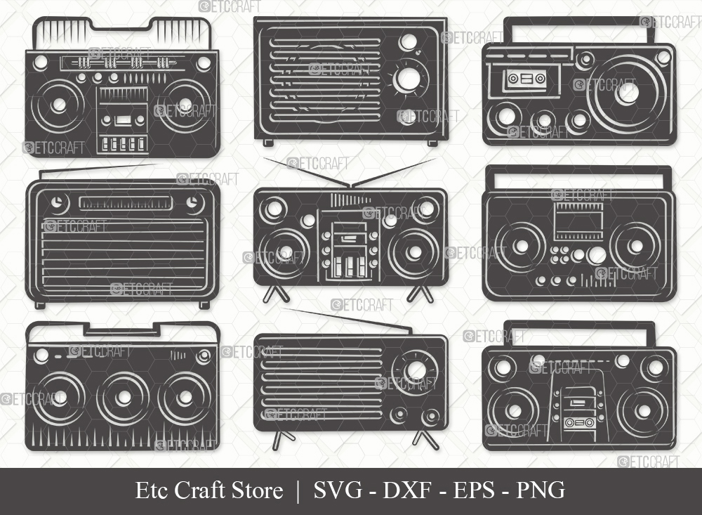 Radio Boombox Silhouette SVG | Radio Svg