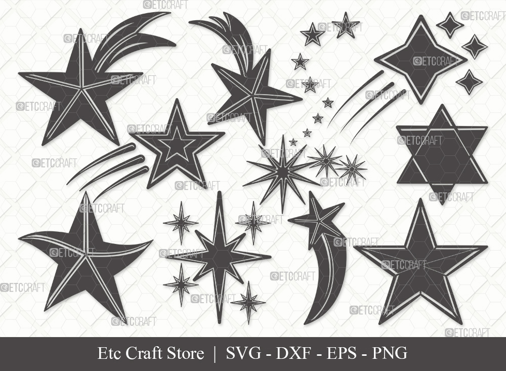 Stars Silhouette SVG Cut File | Glowing Stars Svg
