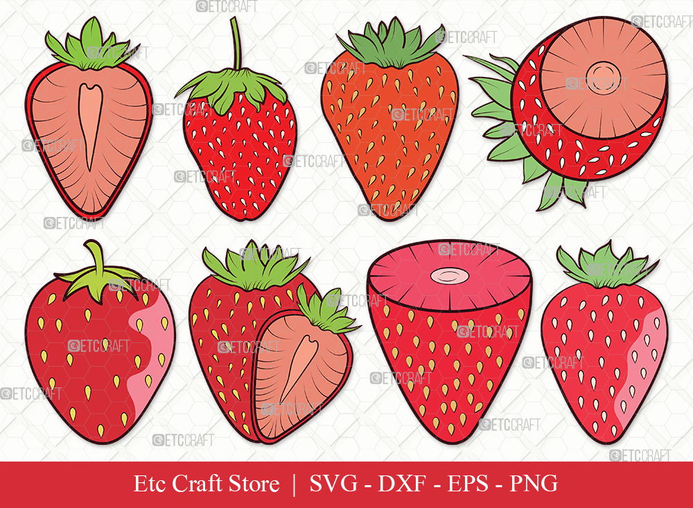 Strawberry Clipart SVG Cut File | Fruit Svg