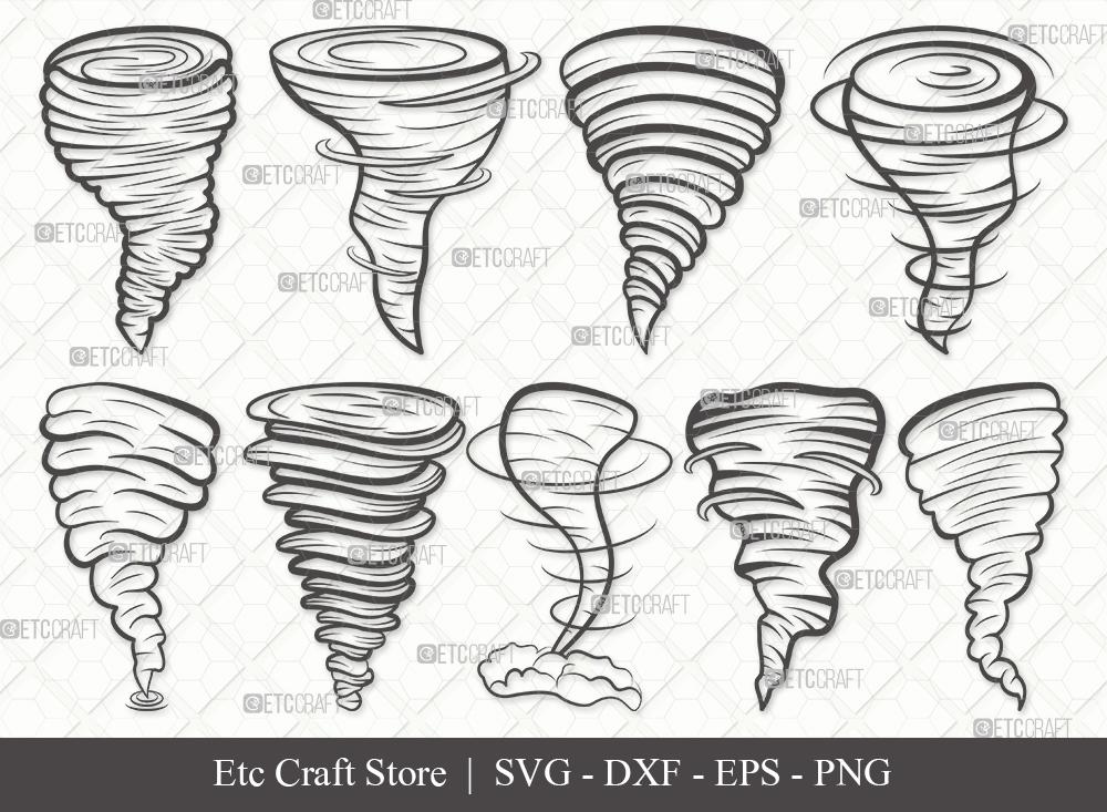 Tornado Outline SVG Cut File   Twister Storm Svg