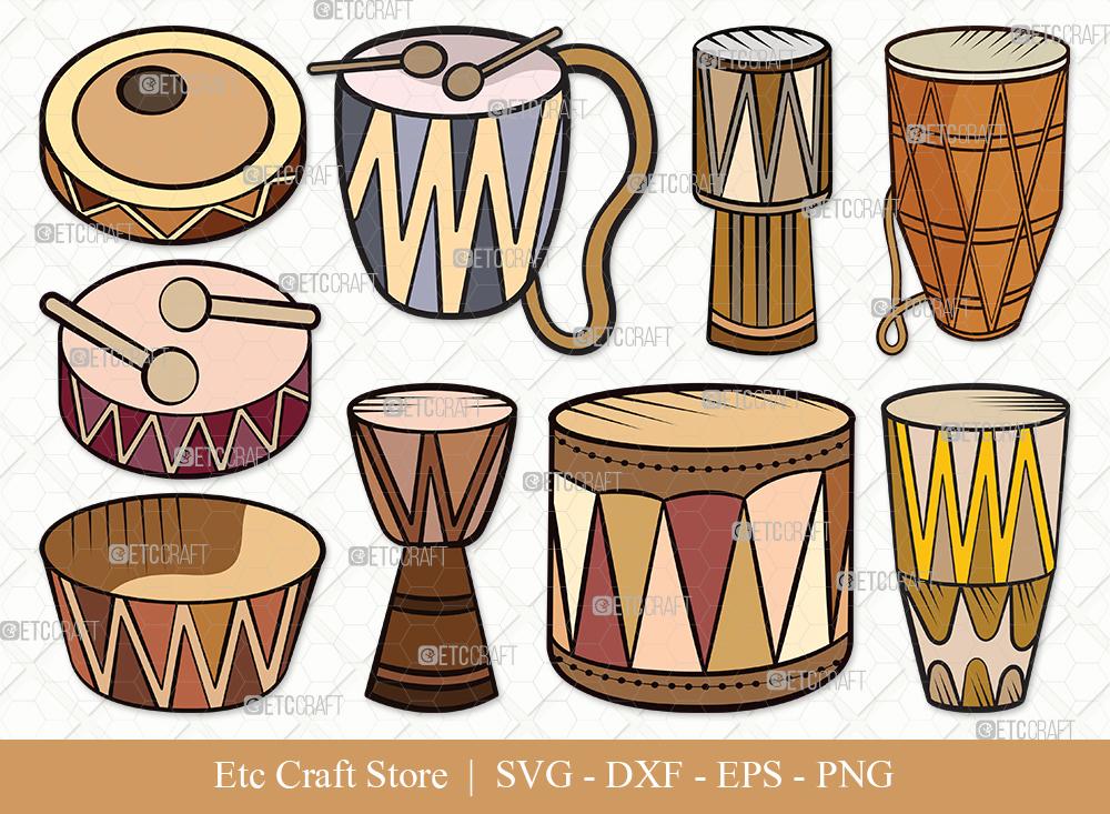 Tribal Drum Clipart SVG Cut File | Drum Svg