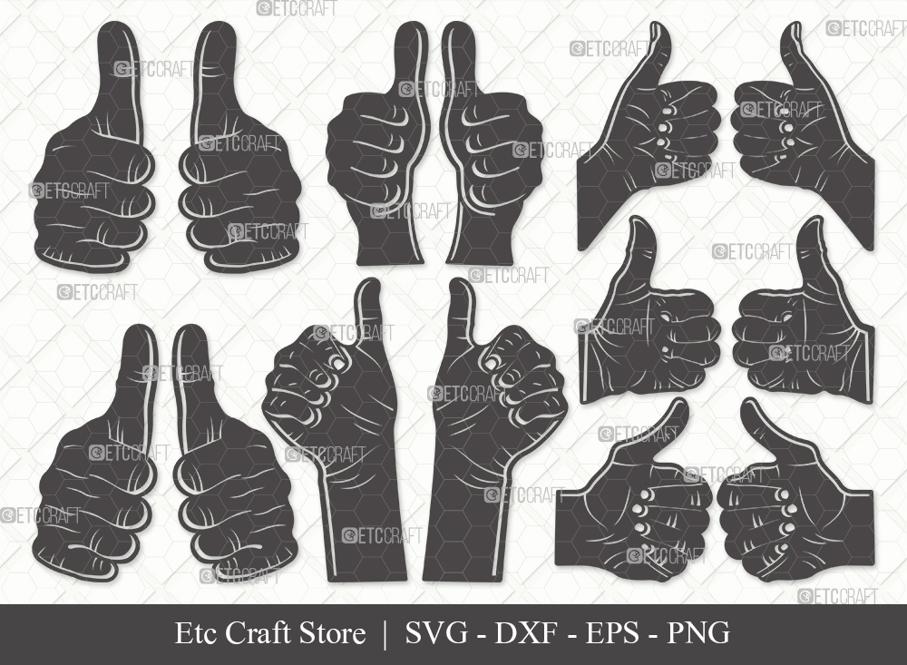 Two Thumbs Up Silhouette SVG Cut File | Hands Svg