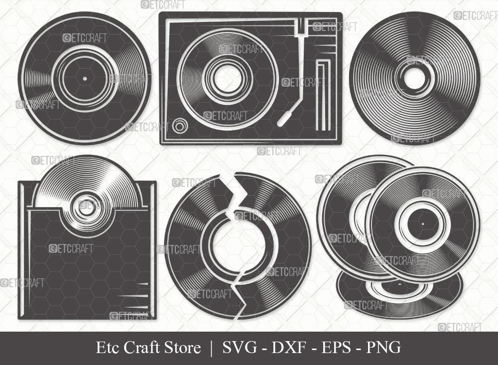 Vinyl Record Silhouette SVG | Vinyl Disc Svg