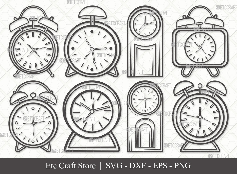 Alarm Clock Outline SVG Cut File | Time Svg
