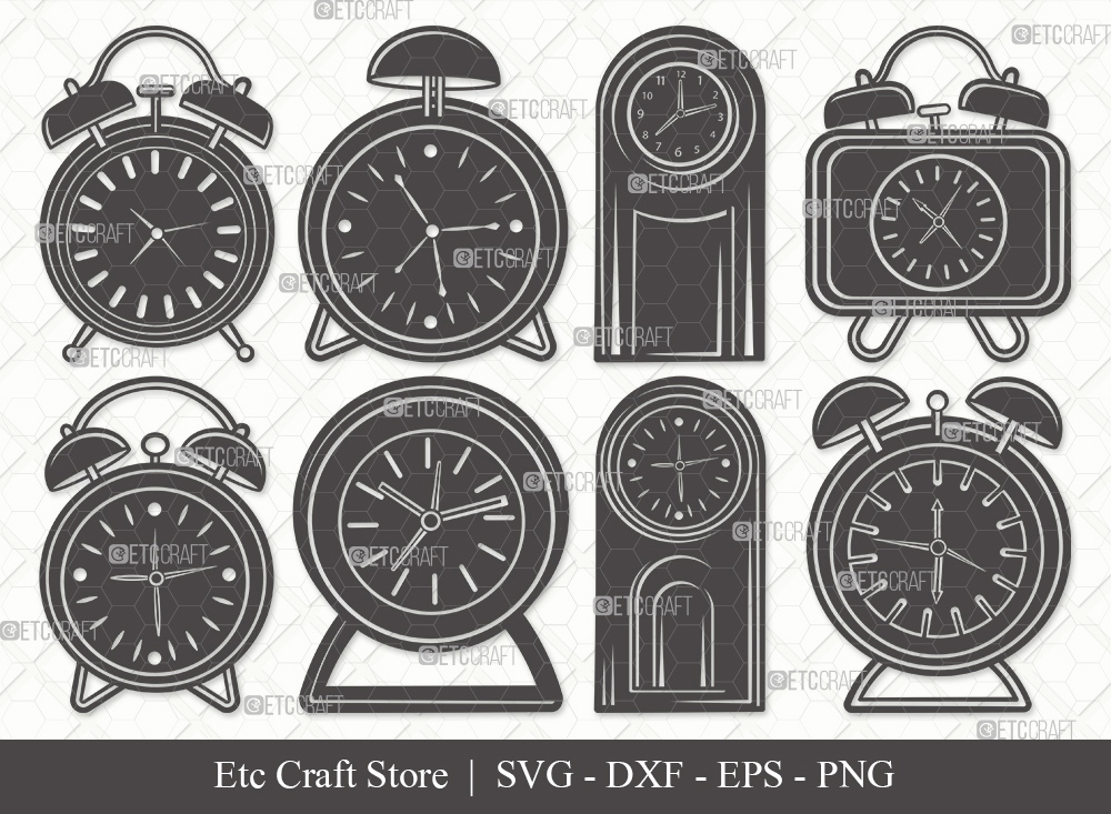 Alarm Clock Silhouette SVG Cut File | Time Svg