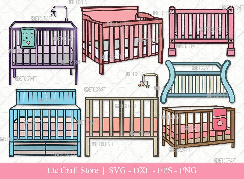 Baby Crib Clipart SVG Cut File | Child Svg