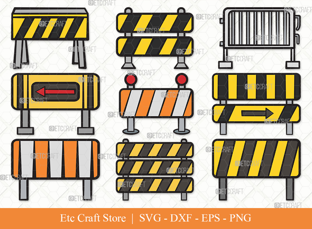Barricades Clipart SVG Cut File | Barriers Svg